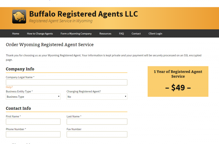 Buffalo Registered Agents LLC $49 a year pricing