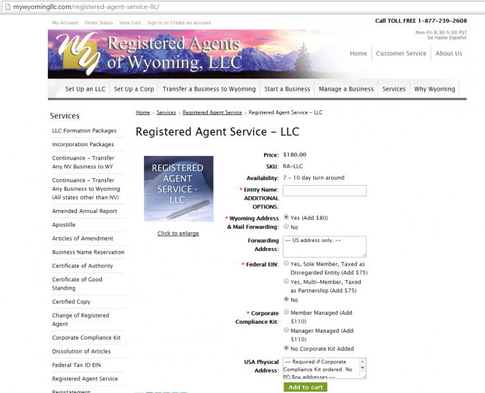 registered agents of wyoming $180 a year pricing