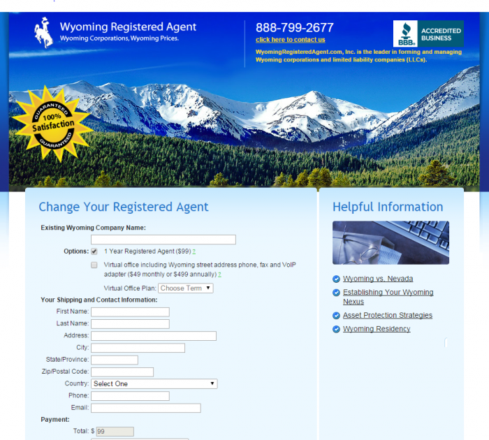 wyomingregisteredagent.com $99 a year pricing